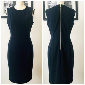 NAVY BLUE CALVIN KLEIN SHEATH DRESS W/GOLD ZIPPER